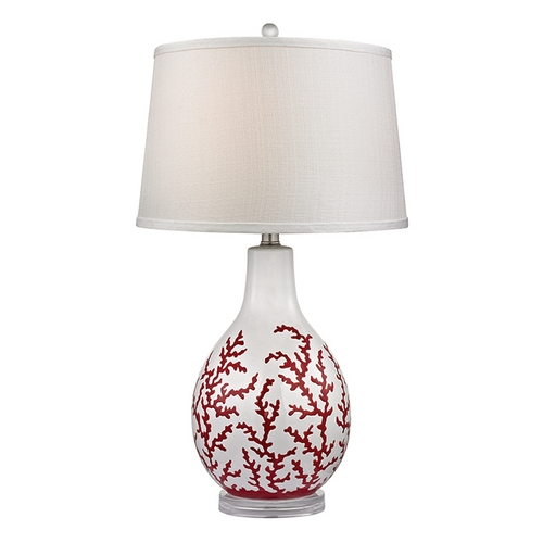 Dimond Lighting Table Lamp with White Shades in Red with White Finish D2479