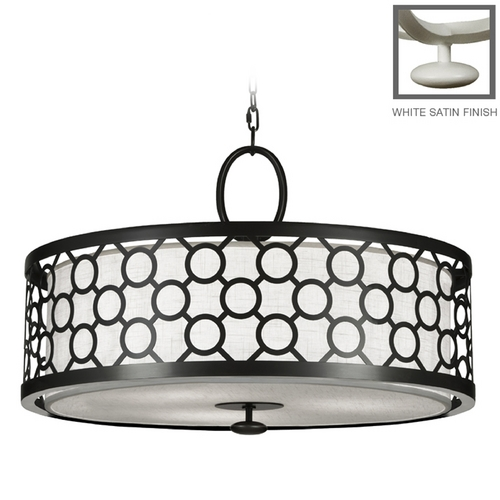 Fine Art Lamps Fine Art Lamps Black + White Story White Satin Lacquer Pendant Light with Drum Shade 780140-5ST