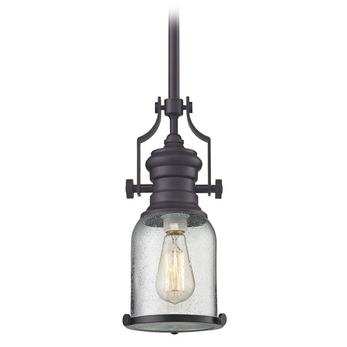 Elk Lighting Elk Lighting Chadwick Oil Rubbed Bronze Mini-Pendant Light with Bowl / Dome Shade 67722-1