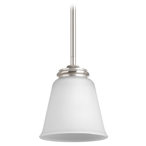 Progress Lighting Progress Lighting Keats Brushed Nickel Mini-Pendant Light with Bell Shade P5093-09