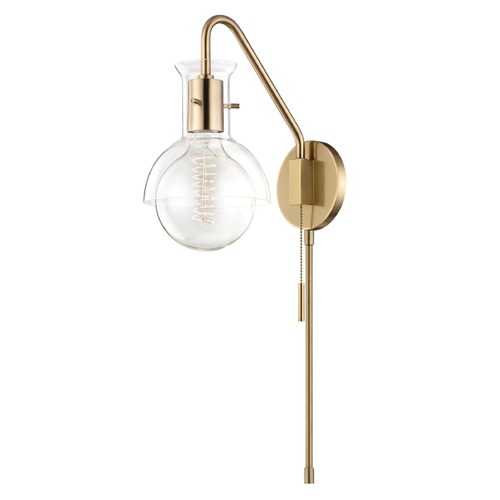 Mitzi by Hudson Valley Mid-Century Modern Sconce Brass Mitzi Riley by Hudson Valley HL111101G-AGB