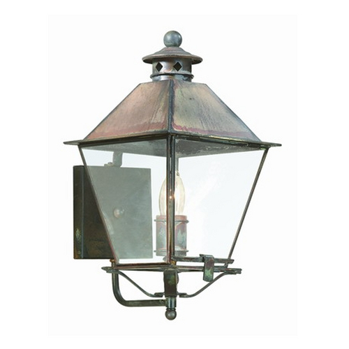 Troy Lighting Outdoor Wall Light with Clear Glass in Natural Aged Brass Finish BCD9131NAB