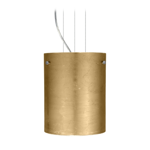 Besa Lighting Modern Pendant Light with Gold Glass in Satin Nickel Finish 1KG-4006GF-SN