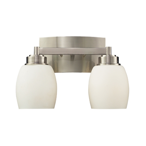 Elk Lighting Modern Bathroom Light with White Glass in Satin Nickel Finish 17101/2