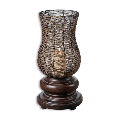 Uttermost Lighting Modern Candle Holder in Chestnut Brown Finish 19290