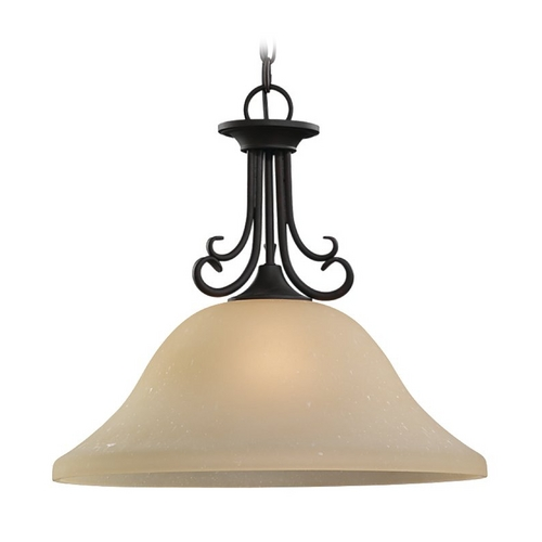 Sea Gull Lighting Pendant Light with Beige / Cream Glass in Chestnut Bronze Finish 65121-820