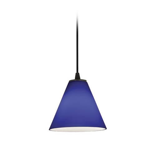 Access Lighting Modern Mini-Pendant Light with Blue Glass 28004-2C-ORB/COB