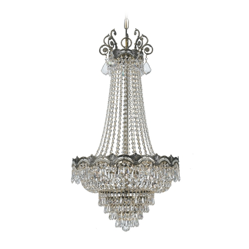 Crystorama Lighting Crystal Pendant Light in Historic Brass Finish 1487-HB-CL-S