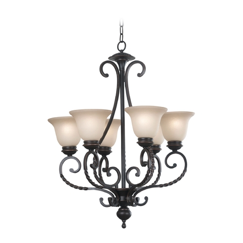 Kenroy Home Lighting Chandelier with Amber Glass in Oil Rubbed Bronze Finish 10196ORB