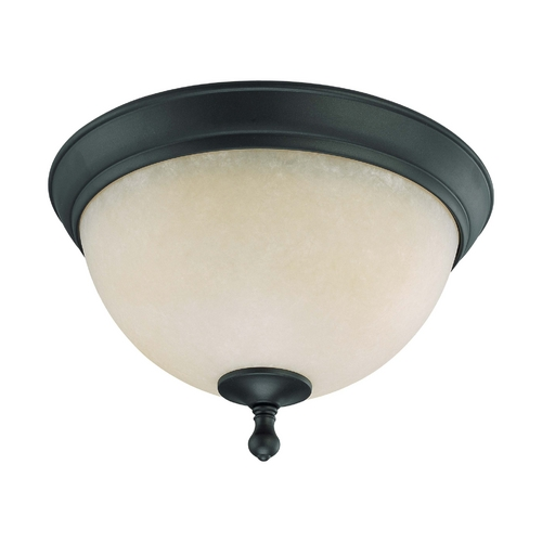 Nuvo Lighting Flushmount Light with Beige / Cream Glass in Aged Bronze Finish 60/2792