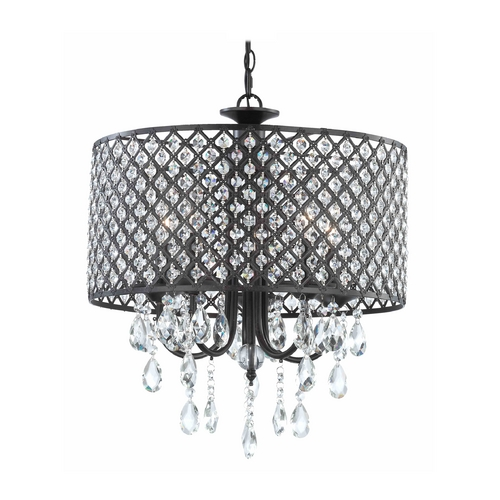 Ashford Classics Lighting Crystal Chandelier Pendant Light with Crystal Beaded Drum Shade 2235-148