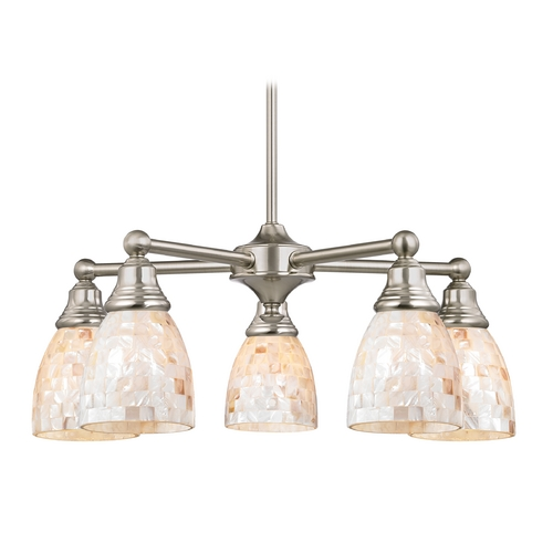 Design Classics Lighting Chandelier with Mosaic Glass in Satin Nickel Finish 597-09 GL1026MB