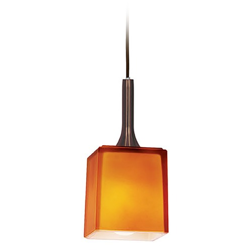 Access Lighting Access Lighting Omega Bronze Mini-Pendant Light with Square Shade 96918-BRZ/AMB