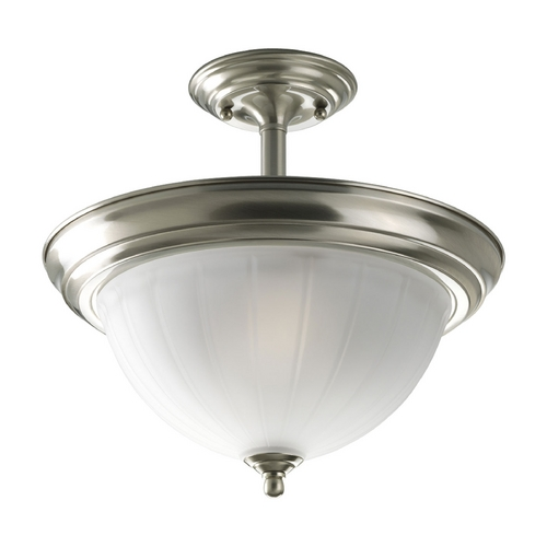 Progress Lighting Progress Semi-Flushmount Ceiling Light with White Glass P3876-09