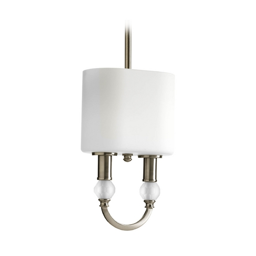 Progress Lighting Modern Mini-Pendant Light with White Glass P5304-09