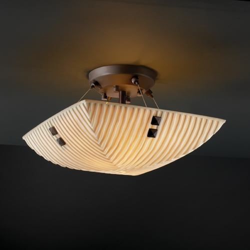 Justice Design Group Justice Design Group Porcelina Collection Semi-Flushmount Light PNA-9650-25-WFAL-DBRZ-F3