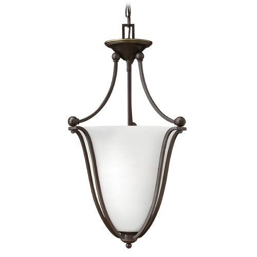 Hinkley Lighting Hinkley Lighting Bolla Olde Bronze Pendant Light with Urn Shade 4663OB-OPAL