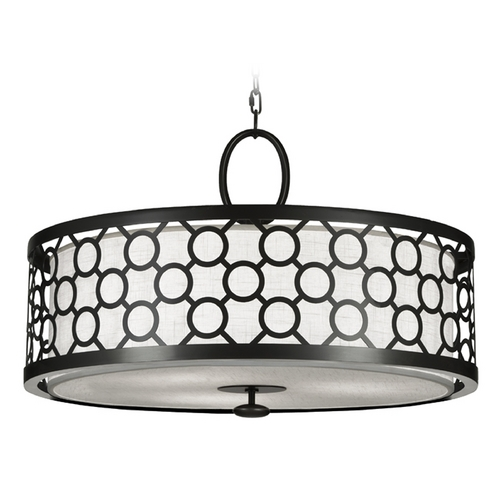 Fine Art Lamps Fine Art Lamps Black + White Story Black Satin Lacquer Pendant Light with Drum Shade 780140-6ST