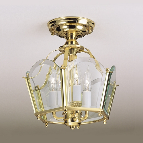 Norwell Lighting Norwell Lighting Legacy Polished Brass Semi-Flushmount Light 5870/6270-PB-BE