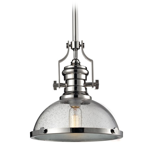 Elk Lighting Elk Lighting Chadwick Polished Nickel Pendant Light with Bowl / Dome Shade 67713-1