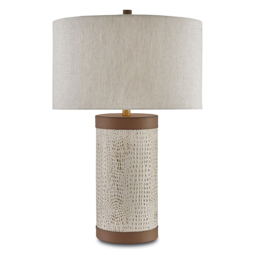 Currey and Company Lighting Currey and Company Baptiste Ivory/brown/brushed Brass Table Lamp with Drum Shade 6000-0038