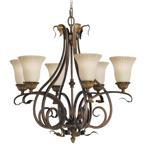 Feiss Lighting Chandelier with Beige / Cream Glass in Aged Tortoise Shell Finish F2076/6ATS