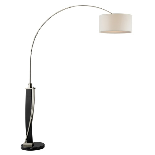 Lite Source Lighting Lite Source Estella Dark Walnut Brushed Nickel Arc Lamp with Drum Shade LS-81789