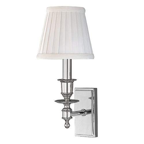 Hudson Valley Lighting Sconce Wall Light with White Shade in Polished Nickel Finish 6801-PN
