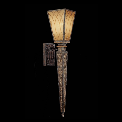 Metropolitan Lighting Sconce Wall Light with Amber Glass in Aged Patina / Gold Leaf Finish N6490-270