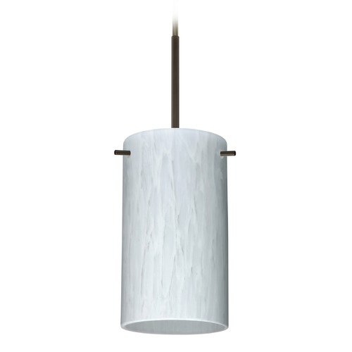 Besa Lighting Besa Lighting Stilo Bronze Mini-Pendant Light with Cylindrical Shade 1BT-440419-BR
