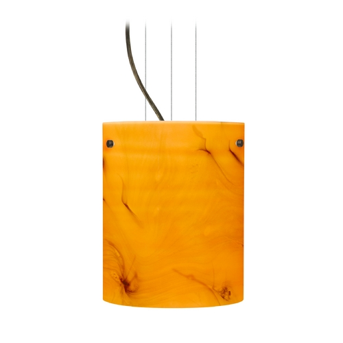 Besa Lighting Modern Pendant Light with Orange Glass in Bronze Finish 1KG-4006HB-BR