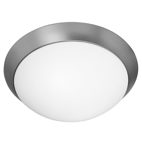Access Lighting Modern Flushmount Light with White Glass in Brushed Steel Finish 20624-BS/OPL
