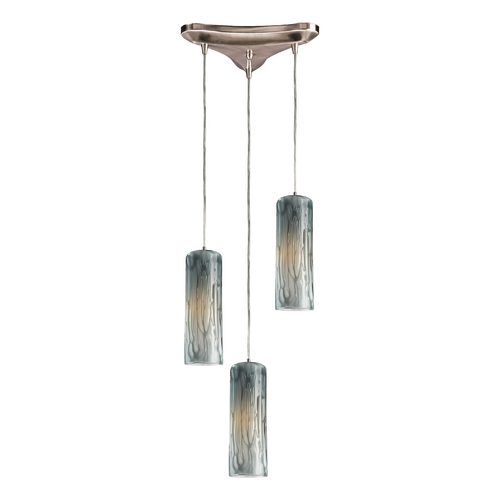 Elk Lighting Modern Multi-Light Pendant Light with Art Glass and 3-Lights 551-3MD