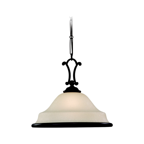 Sea Gull Lighting Pendant Light with Champagne Seeded Glass in Misted Bronze Finish 65145-814