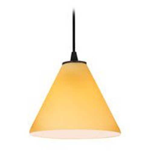 Access Lighting Modern Mini-Pendant Light with Amber Glass 28004-2C-ORB/AMB