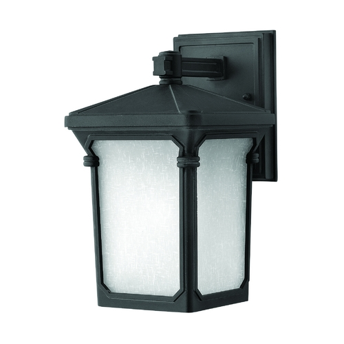Hinkley Lighting Outdoor Wall Light with White Glass in Museum Black Finish 1356MB