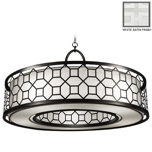 Fine Art Lamps Fine Art Lamps Black + White Story White Satin Lacquer Pendant Light with Drum Shade 780340-5GU