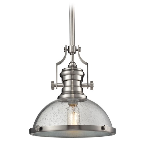 Elk Lighting Chadwick Satin Nickel Pendant Light With Bowl Dome Shade