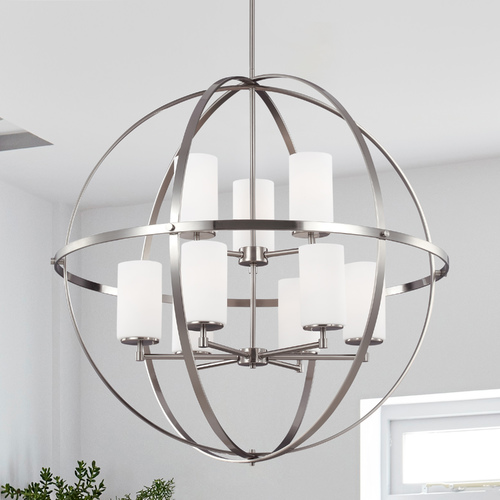 Sea Gull Lighting Sea Gull Lighting Alturas 2-Tier 9-Light Chandelier in Brushed Nickel 3124609-962