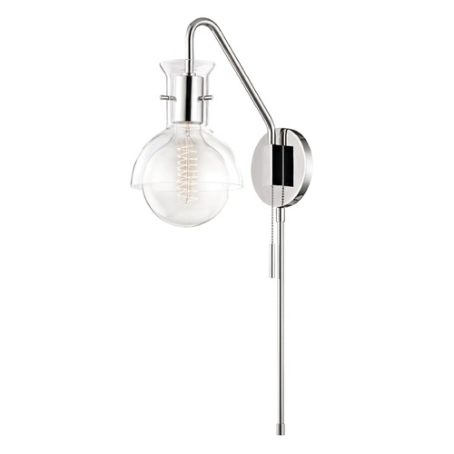 Mitzi by Hudson Valley Mid-Century Modern Sconce Polished Nickel Mitzi Riley by Hudson Valley HL111101G-PN