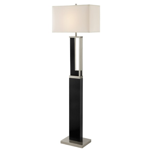 Lite Source Lighting Lite Source Theoris Brushed Nickel Dark Walnut Floor Lamp with Rectangle Shade LS-83076
