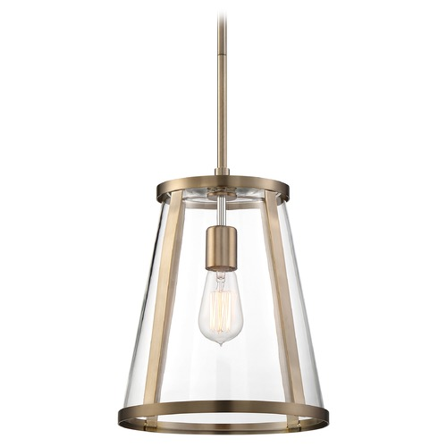 Nuvo Lighting Satco Lighting Bruge Burnished Brass Pendant Light with Conical Shade 60/6697