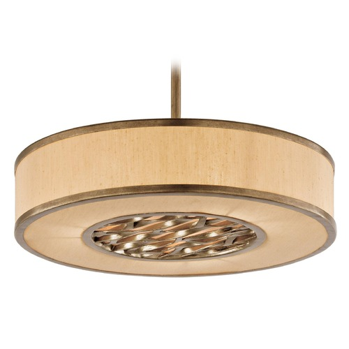 Troy Lighting Drum Pendant Light with Beige / Cream Shade in Bronze Leaf Finish F3156