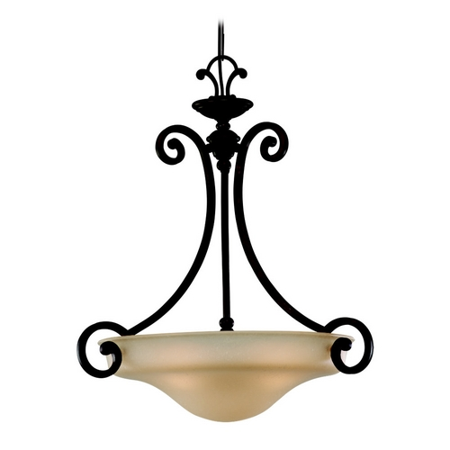 Sea Gull Lighting Pendant Light with Champagne Seeded Glass in Misted Bronze Finish 65146-814