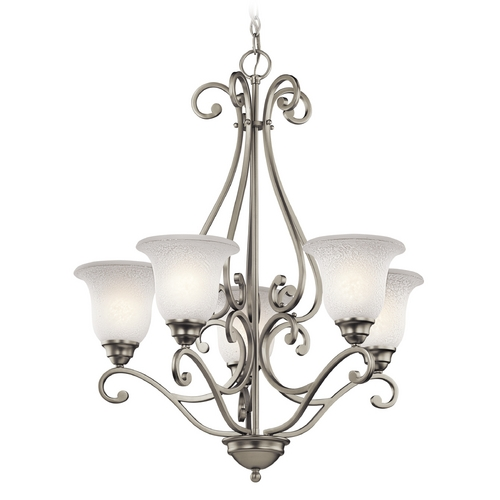 Kichler Lighting Kichler Chandelier with White Glass in Brushed Nickel Finish 43224NI