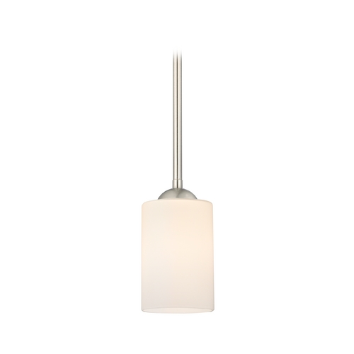 Design Classics Lighting Satin Nickel Mini-Pendant Light with Satin White Cylinder Glass 581-09 GL1028C