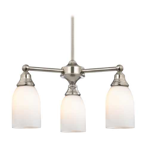 Design Classics Lighting Mini-Chandelier with White Glass in Satin Nickel Finish 598-09 GL1024D