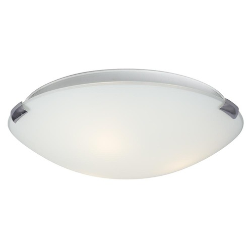 Galaxy Excel Lighting 16-Inch Flushmount with White Glass - Chrome Finish 680416CH/WH