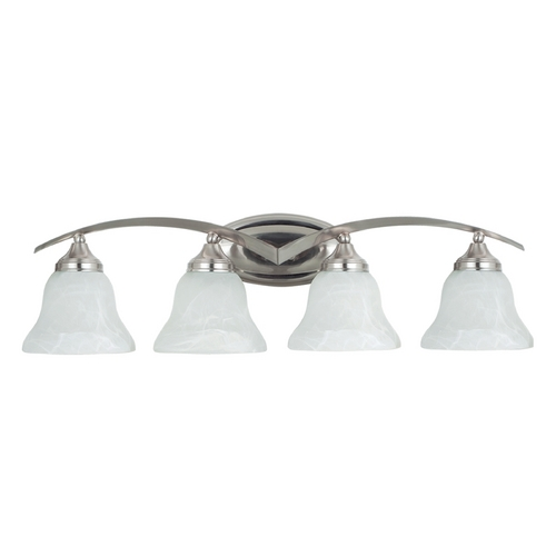 Sea Gull Lighting Bathroom Light with Alabaster Glass in Brushed Nickel Finish 44177-962
