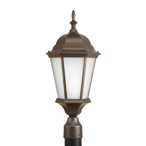 Progress Lighting Post Light with White Glass in Antique Bronze Finish P5482-20